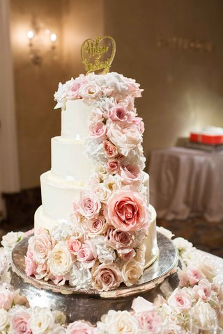 four-tier-4-tier-white-cake-sparkly-fresh-flowers-mirror-top-stand-cake-topper