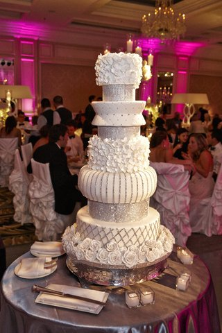 white-and-silver-multi-layer-wedding-cake