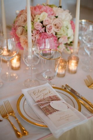 gold-foil-personalized-menu-wrapped-with-pink-tweed