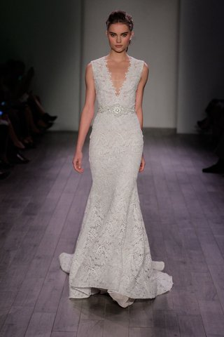 lazaro-spring-2016-v-neck-lace-fit-and-flare-wedding-dress-with-jewel-belt