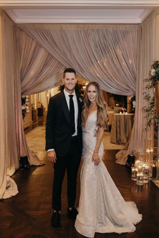 suzanna-villarreal-and-alex-wood-la-dodgers-wedding-reception-drapery-blush-bride-in-berta-gown