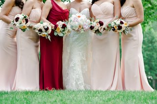 bride-bouquet-with-peonies-and-garden-roses-bridesmaid-bouquets-marsala-burgundy-peach-blush-ivory