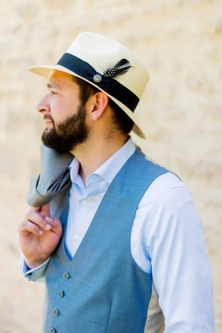 groom-in-casual-suit-blue-vest-button-up-shirt-panama-fedora-italian-destination-wedding-attire