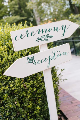 white-wood-post-with-ceremony-and-reception-sign-in-modern-calligraphy-and-leaf-motif-at-wedding