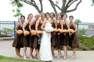 brown-bubble-skirt-dresses-and-orange-bouquets