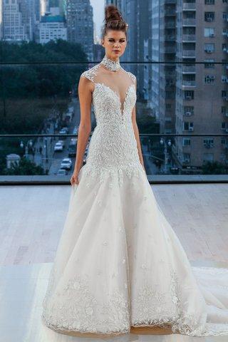 brooklyn-ines-di-santo-fall-2018-wedding-dress-drop-waist-cap-sleeve-illusion-high-neck-details