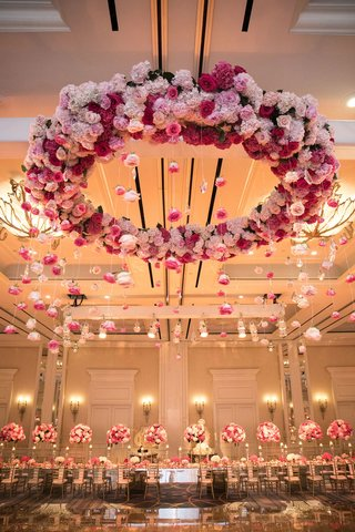 wedding-reception-pink-flowers-wreath-over-mirror-dance-floor-ballroom-reception-dallas