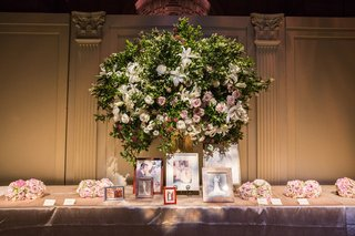 escort-cards-on-long-table-with-framed-family-wedding-photos