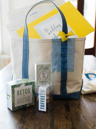 wedding-guest-gift-bag-tote-blue-white-detox-toffee-branding-palm-motif-yellow-envelope-and-ribbon