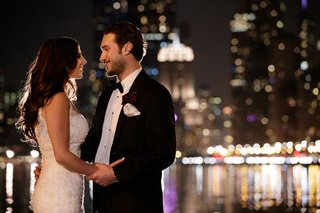 bride-and-groom-looking-into-each-others-eyes-in-chicago-night-shot-by-bob-dawn-davis-photography