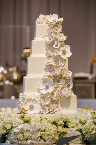 wedding-cake-five-square-layers-white-sugar-flower-cake-topper-cascading-down-layers