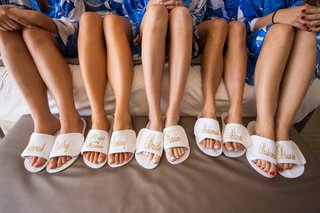 bride-maid-of-honor-bridesmaids-custom-bath-slippers-gold-blue-robes-hotel-del-coronado-wedding-gift