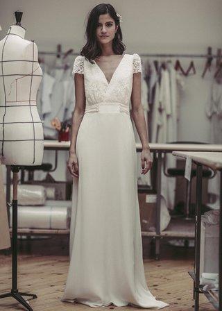 laure-de-sagazan-2017-collection-bukowski-v-neck-lacy-illusion-cap-sleeves-empire-sleek-skirt