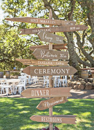 wood-directional-arrow-sign-ceremony-and-reception-with-white-lettering-special-places-to-couple
