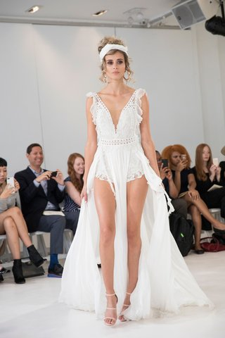 julie-vino-2018-havana-bridal-collection-wedding-dress-romper-with-ruffles-on-side-and-long-train