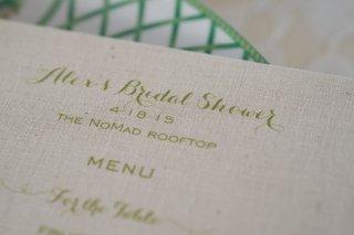 bridal-shower-menu-green-calligraphy-burlap-new-york-city-food-the-nomad-hotel