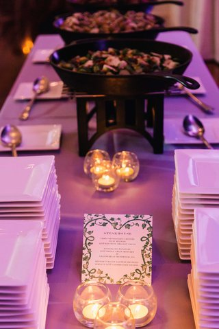 wedding-food-station-buffet-steakhouse-station-with-purple-lighting-and-candles