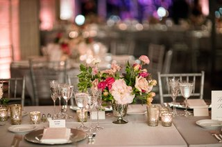 grey-table-linens-silver-silver-vase-pink-flowers-greenery-candle-votives