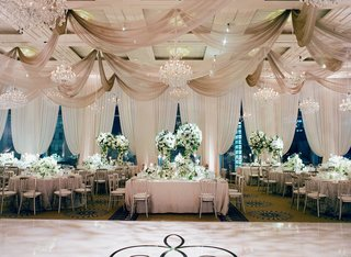 ceiling-drapery-chandeliers-white-cream-table-linens-green-centerpieces-dance-floor-decal