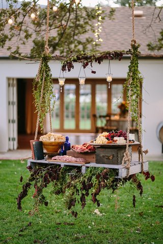 swing-featuring-meat-cheese-fruit-platter-rustic-chic-wedding-professional-event-california-food