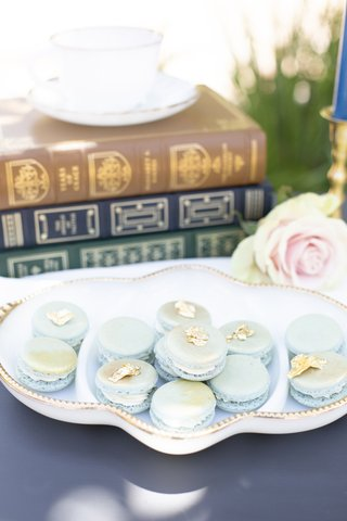 pale-blue-macarons-with-gold-accents-wedding-dessert-table-inspiration