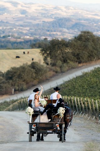 bride-and-father-of-the-bride-in-back-of-horse-wagon
