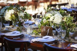rustic-outdoor-wedding-reception-table-with-wood-block-table-number-white-roses-hydrangeas