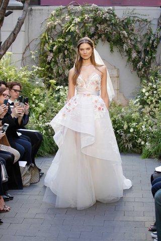 monique-lhuillier-spring-2017-blossom-wedding-dress-v-neck-with-flower-details-and-waist-band
