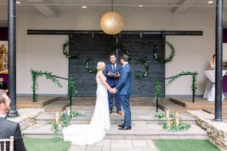 wedding-at-hotel-covington-with-hoops-of-greenery-friend-officiating-wedding