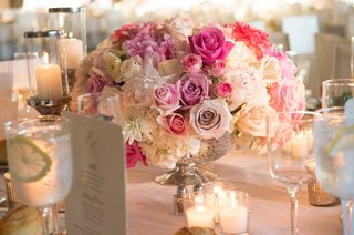white-pink-rose-wedding-reception-centerpiece-in-mercury-glass-vase-on-table