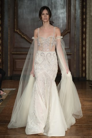 idan-cohen-fall-2017-ivory-and-nude-gown-with-a-fit-and-flare-silhouette-and-oversized-tulle-sleeves