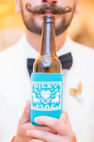 kiley-and-mac-personalized-beer-koozie-bright-blue-on-brown-beer-bottle-mustache-guest-texas-wedding