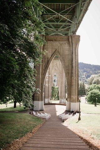 outdoor-park-ceremony-underneath-bridge-cathedral-park-portland-oregon-wedding-steps-simple-rustic