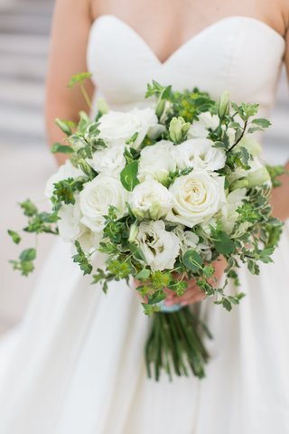 bridal-bouquet-with-white-roses-and-greenery