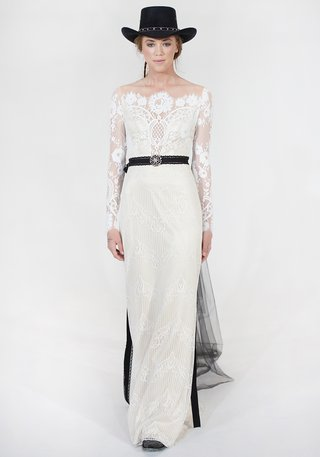 winona-claire-pettibone-lace-wedding-dress-with-black-belt-and-sheer-neckline-and-sleeves