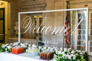 acrylic-clear-lucite-welcome-sign-with-calligraphy-and-names-wedding-date-table-with-refreshments