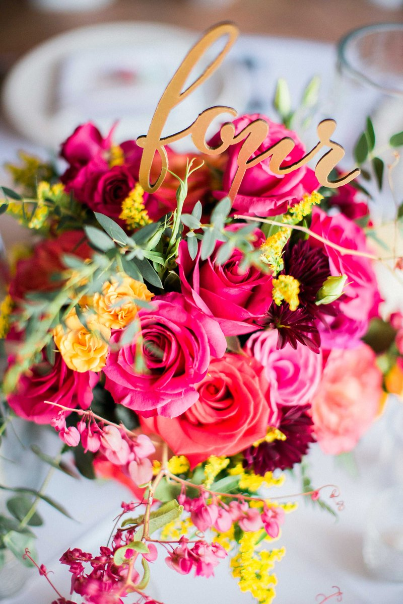 Colorful Floral Arrangement with Table Number
