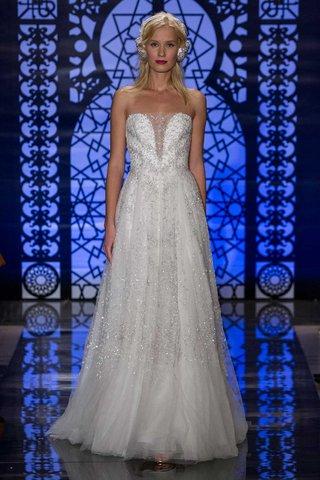 reem-acra-bridal-fall-2016-strapless-silver-beaded-wedding-dress