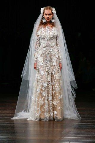 naeem-khan-bridal-fall-2017-alexandria-long-sleeve-3d-embroidery-wedding-dress-flower-appliques