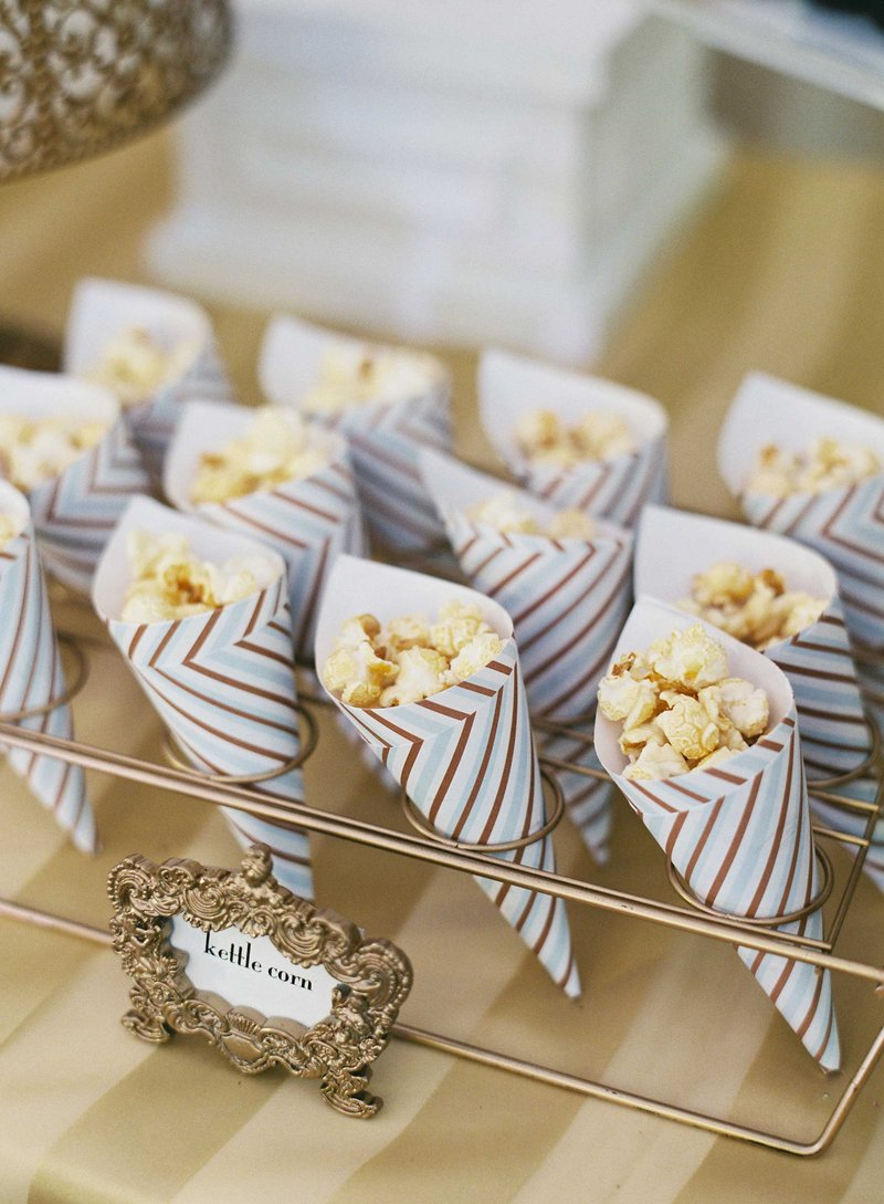 Kettle Corn Served in Striped Paper Cones