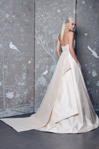 legends-romona-keveza-fall-2018-blush-wedding-dress-with-pockets-tails-in-back-strapless