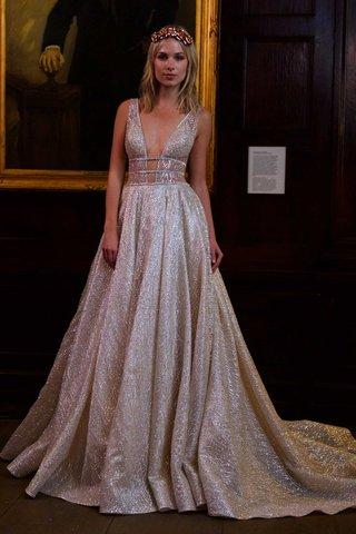 berta-bridal-fall-winter-2016-silver-deep-v-wedding-dress-with-bands-at-waist