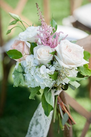 garden-wedding-ceremony-with-peach-white-roses-white-hydrangeas-astilbe-greenery-lace