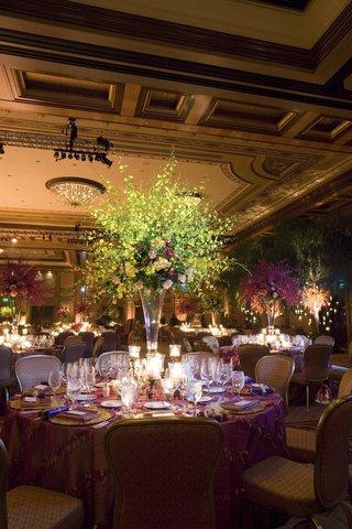 floral-arrangement-in-trumpet-crystal-vases