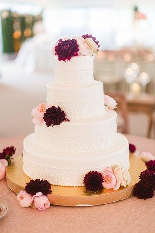 wedding-cake-four-layer-white-design-fresh-flowers-dahlia-garden-rose-pink-burgundy-gold-stand