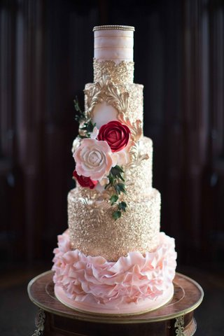 5-tier-cake-pink-red-florals-flowers-gold-plating-frosting-wedding-styled-shoot-new-york-dessert