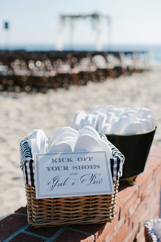 basket-flip-flops-guests-beach-wedding-gift-white-shoes-sand-oceanside-california