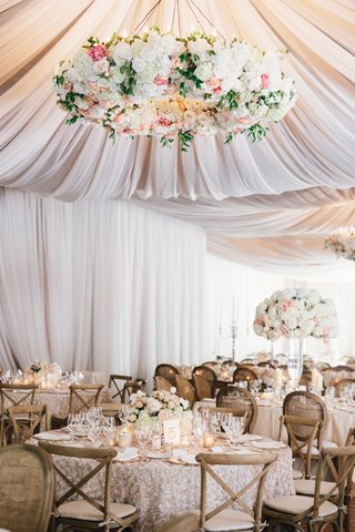 rustic-elegant-tent-wedding-reception-with-large-flower-chandelier-and-texture-linens-high-low