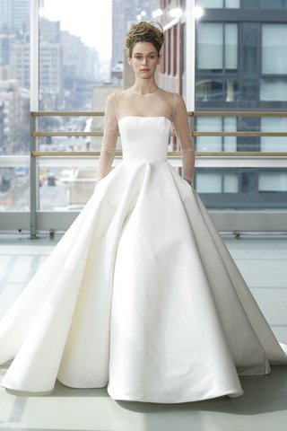 look-11-by-gracy-accad-spring-2019-white-satin-a-line-ball-gown-with-pockets-illusion-neckline