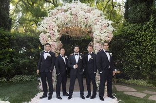 wedding-ceremony-decor-groom-and-groomsmen-in-tuxedos-bow-ties-beverly-hills-hotel